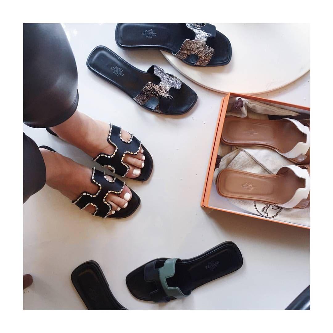 Designer Dupe Hermes Oran Sandals Crystalin Marie T