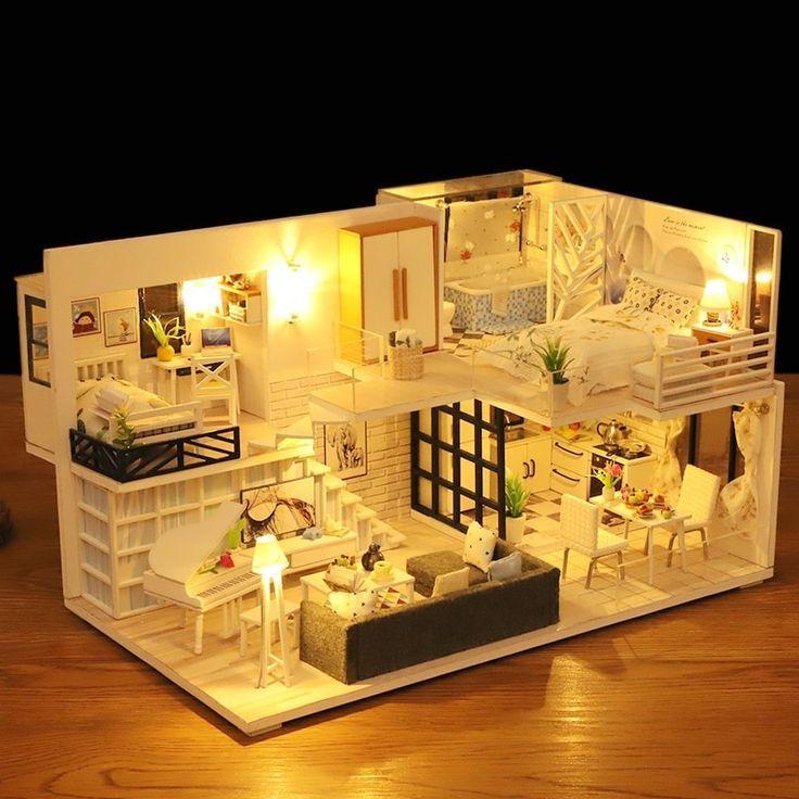 Neue Puppenhaus Möbel Holzspielzeug Diy Puppenhaus Miniatur Puppenhaus Montieren 3D Miniaturas Puzzle Spielzeug Für Kinder Mädchen Geschenk #miniaturedollhouse