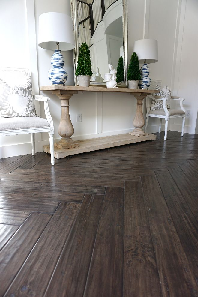 Herringbone Hardwood Floor Console Table Styling Ideas Herringbone Wood Floor House Flooring Herringbone Hardwood Floors