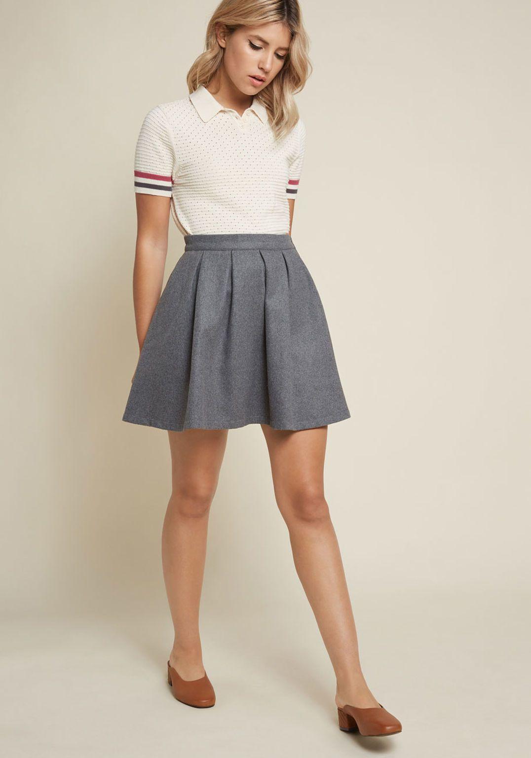 6499f4ec324 Brisk-Taker Wool Mini Skirt in Grey