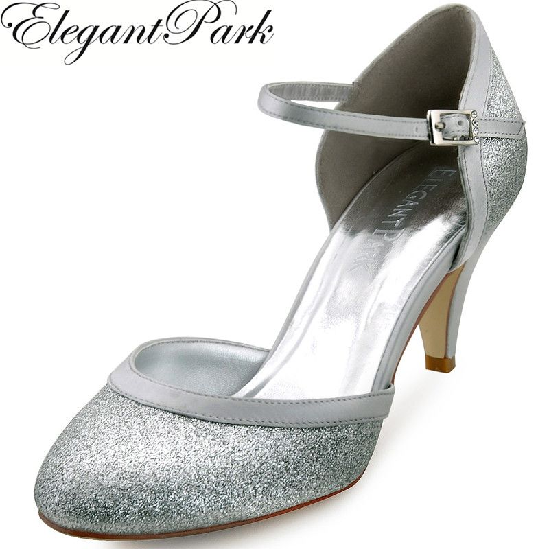 Woman Silver Round Toe Buckle Glitter Mid Heel Bride Bridesmaid Wedding  Bridal Shoes Lady Party Prom Evening Pumps Gold HC1510 - Get free shipping. a3a5ab9298fb