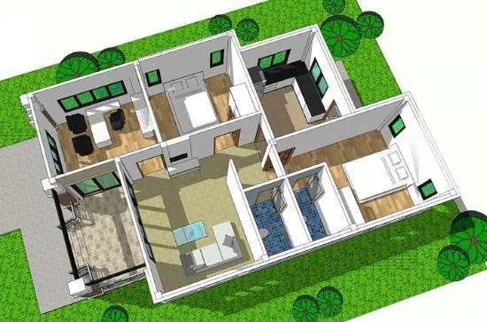 Denah Rumah Minimalis Atap Miring 2 Sisi Rumah Minimalis Home Fashion Gaya Rumah