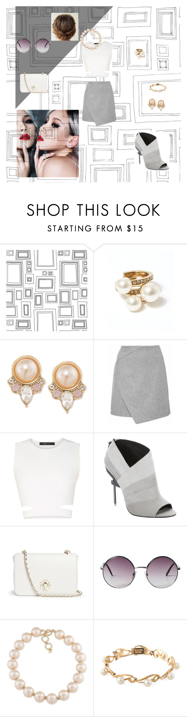 """""""Untitled #227"""" by janaboughanem ❤ liked on Polyvore featuring Graham & Brown, Oscar de la Renta, Carolee, BCBGMAXAZRIA, L.A.M.B., Tory Burch, Monki and Mikimoto"""