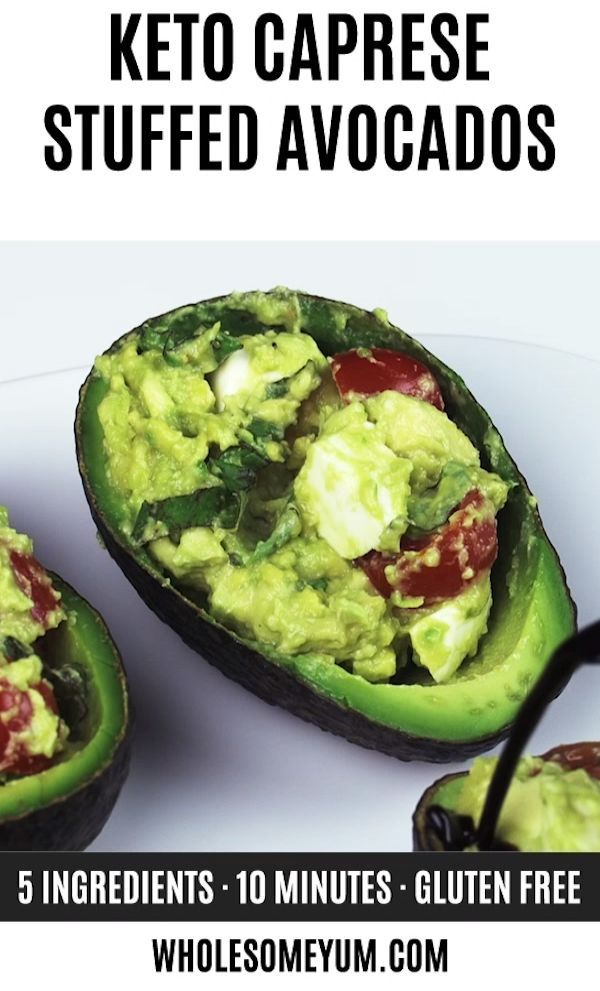Caprese Stuffed Avocado Recipe (Low Carb, Gluten-Free) -