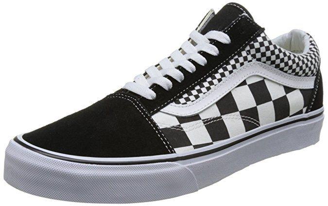 ea18533cae8060 Vans Unisex Old Skool Skate Shoes Checkers Black True White 11 B(M) US Women  9.5 D(M) US Men
