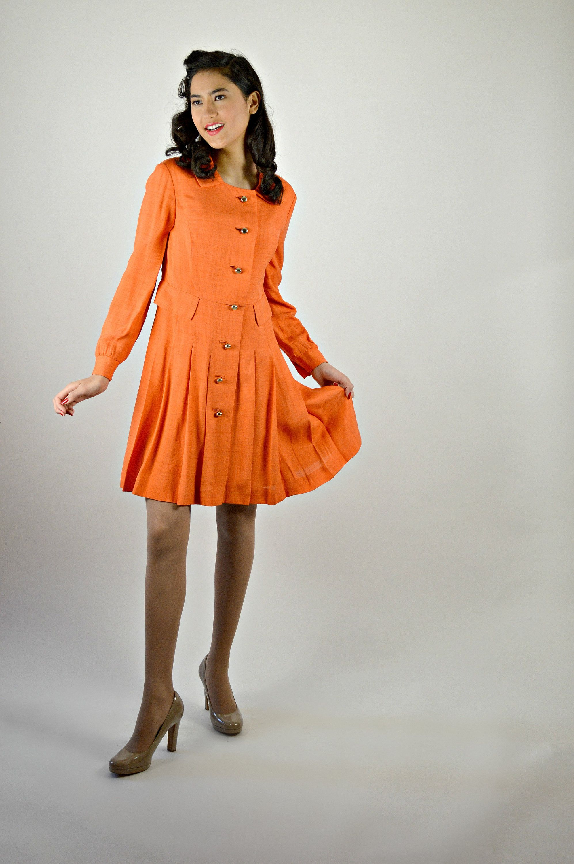 Easter Dress Women Orange Shirt Dress 1960s Dress 60s Fashions Shantung Fabric Pleated 1960s Vintage Clothing Easter Dresses For Women Orange Dress Shirt [ 3000 x 1994 Pixel ]