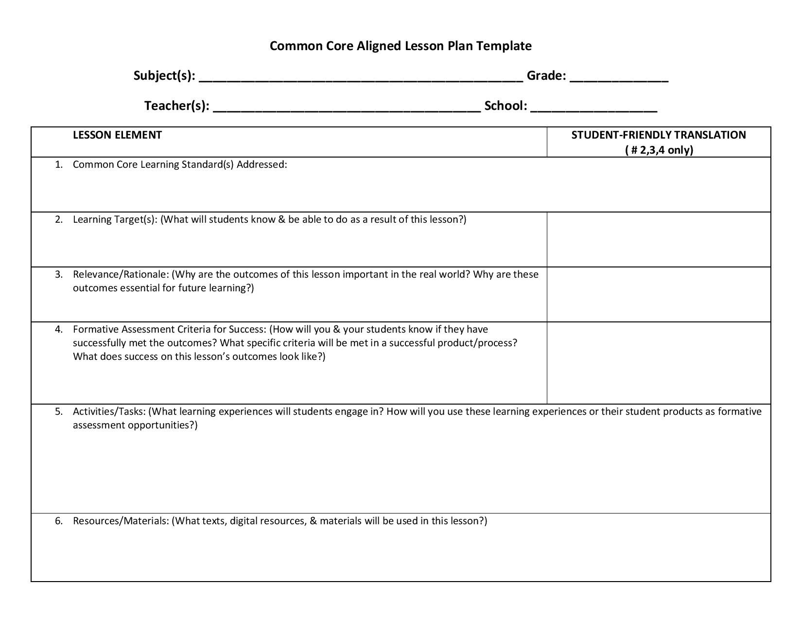 Lesson Planning Templates Ccss With Images Lesson Plan