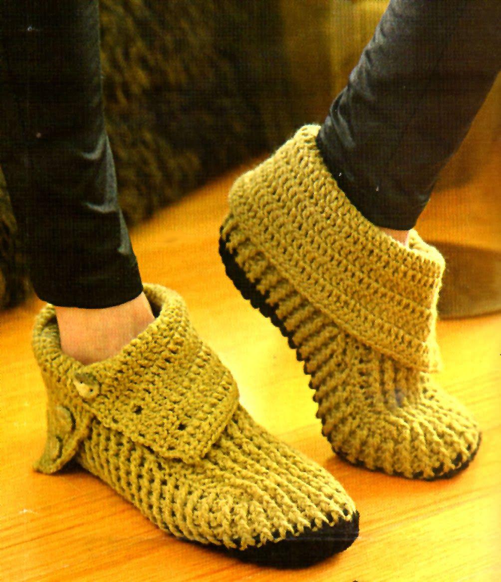 botas pantuflas tejidas a crochet