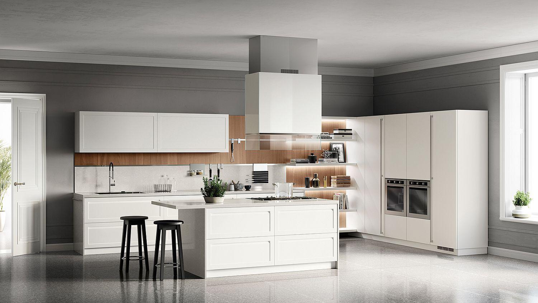 Walnut veneered backsplash for the contemporary kitchen in white