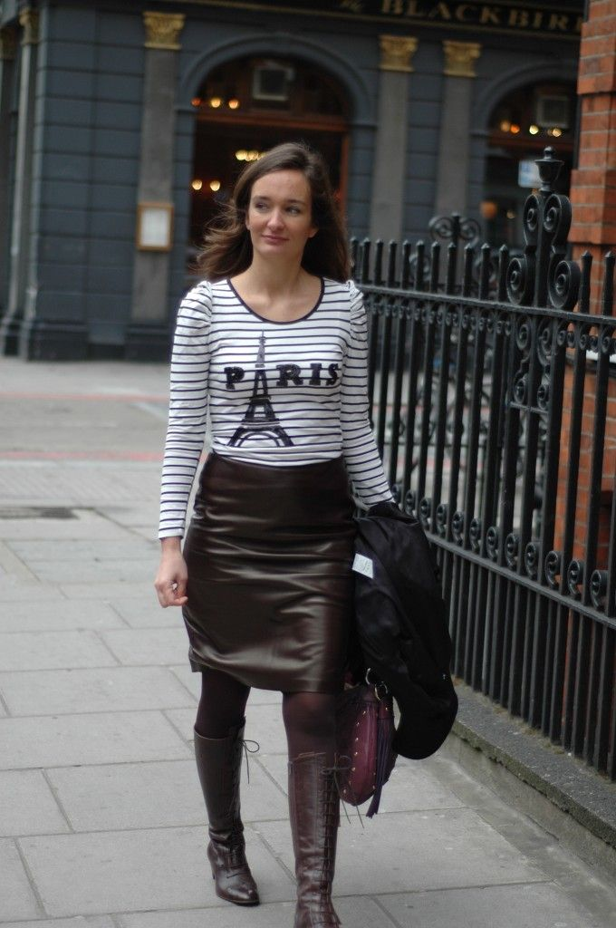 Leather Pencil Skirt and Stripes | Boots Style | Pinterest | Alexa ...