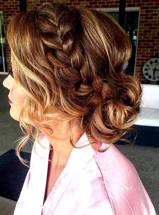 French Braid Into A Messy Low Bun Prom Hair Wedding Hairstyles Updo Messy Prom Hairstyles For Short Hair Medium Hair Styles