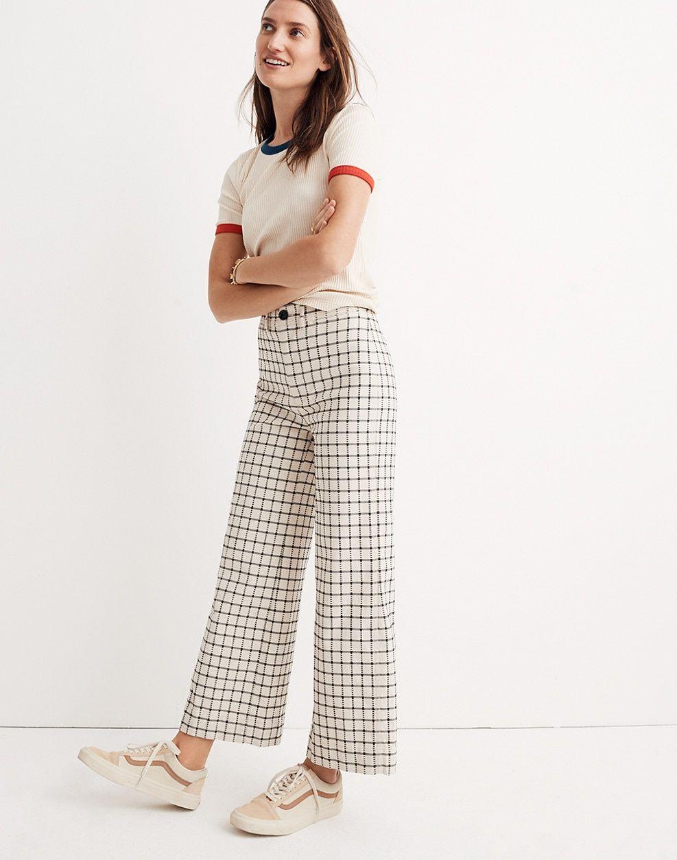 a15343a60d Emmett Wide-Leg Crop Pants in Windowpane   pants