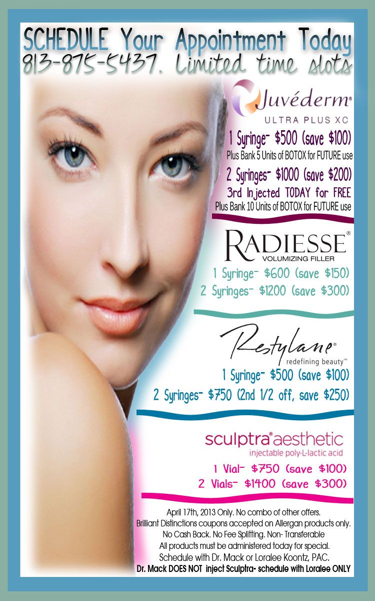 Here are the Sculptra, Radiesse, Restylane and Juvederm
