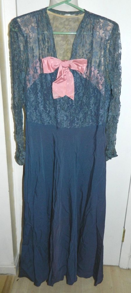 VTG 1930-1940's Blue Pink Floral Sheer Lace Dress or Night Gown #Unbranded