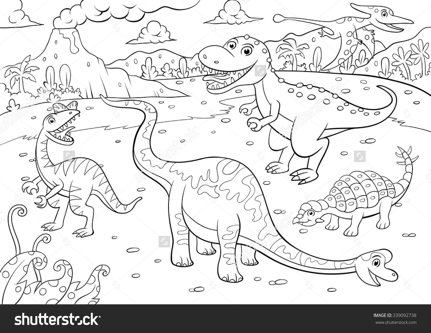 Illustration Of Cute Dinosaurs Cartoon For Coloring Eps10