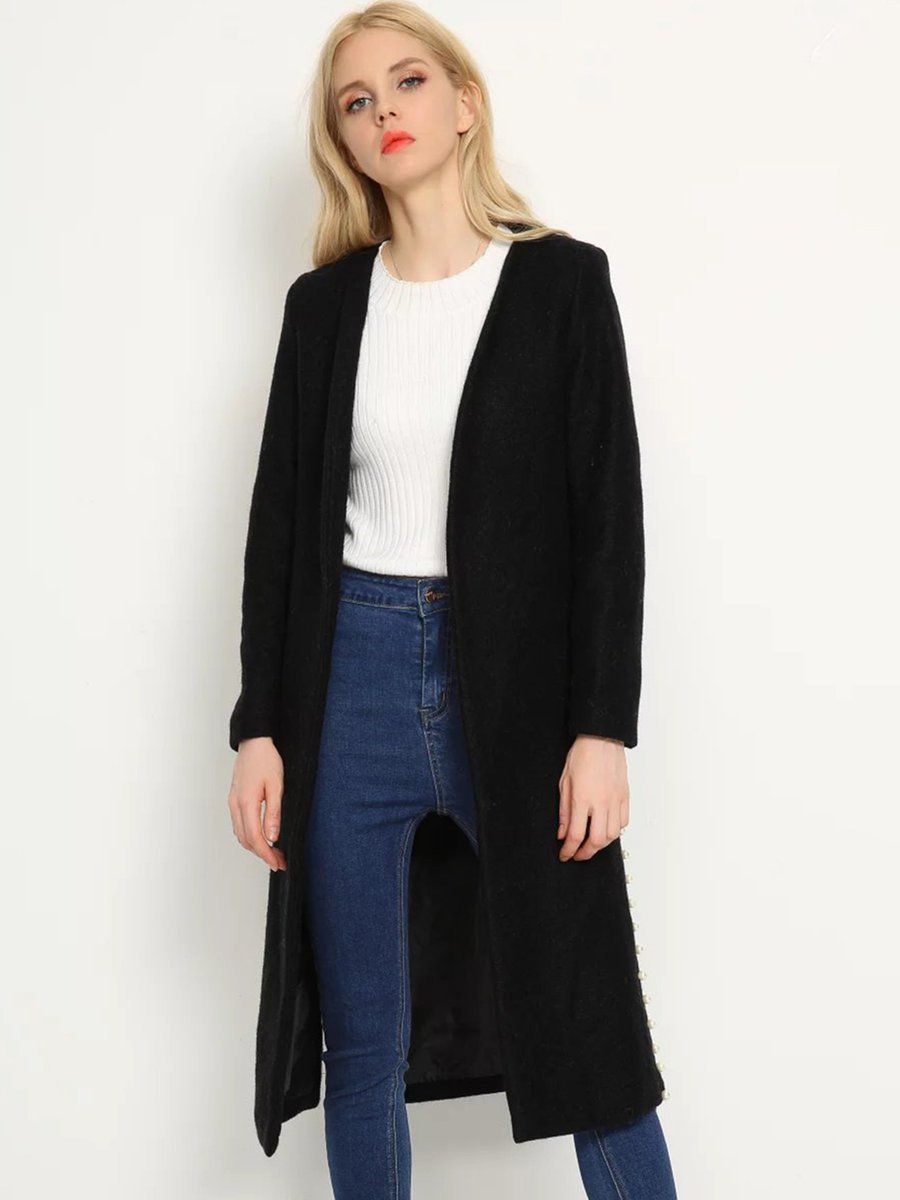 #AdoreWe #JustFashionNow Outerwear - Designer yinbo Black Beaded Side Solid Simple Coat - AdoreWe.com