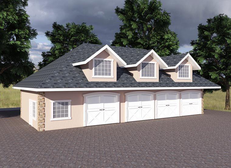 Garage Plan 85203 4 space garage with office plus apartment – Detached Garage Workshop Plans