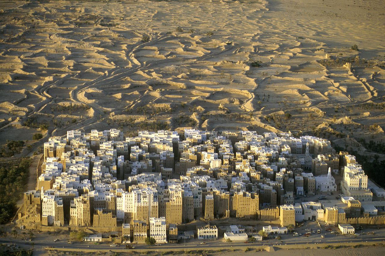 Shibam, Yemen  3rd Century BC (Current buildings are from 16th Century)  Population: 7.000