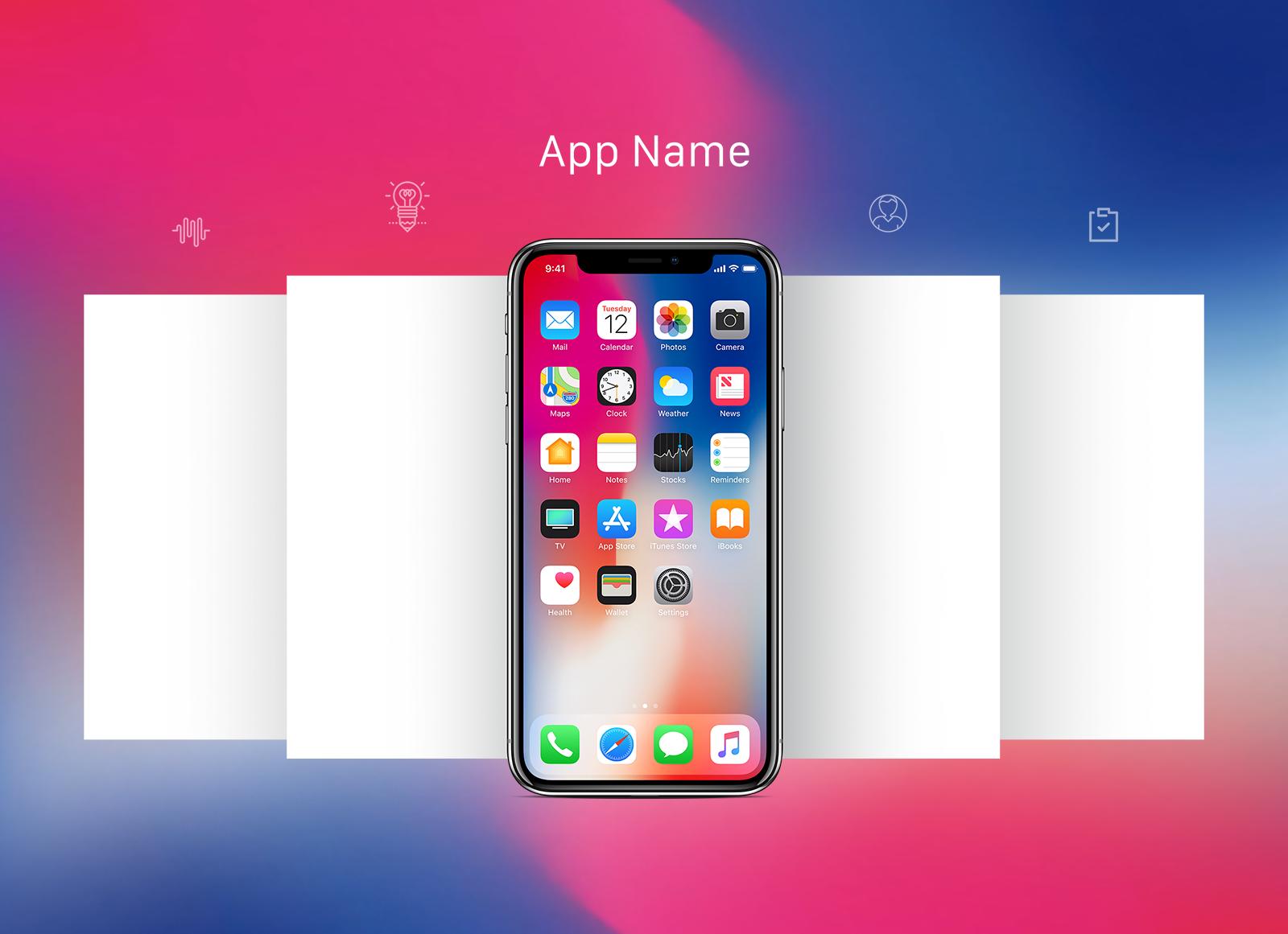 Free Apple Iphone X App Screen Mockup Psd Free Iphone Iphone App