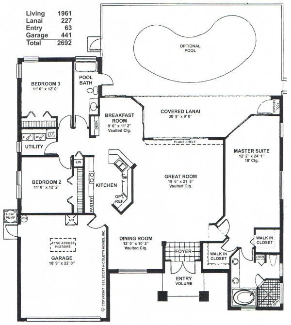 3 Bedroom Open Floor Plan WaterFord III Bedroom Floorplan. 3 Bedroom 2 Bath  ...