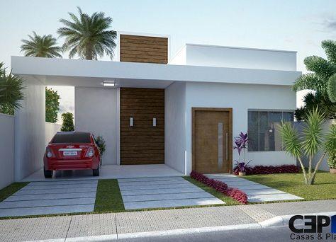 Fachadas de casas pequenas com telhado embutido #casaspequeñas
