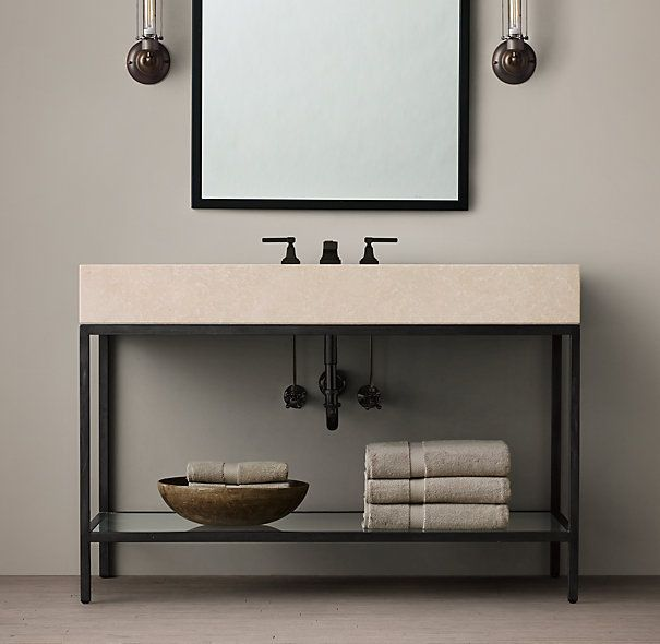 Basement vanity solution rh inspiration future ikea hack weld steel frame use bathroom Used bathroom vanity with sink