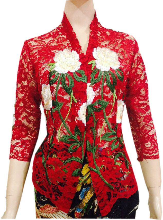 Bahan Broklat Motif Bunga Ukuran All Size Model Kebaya Kartini