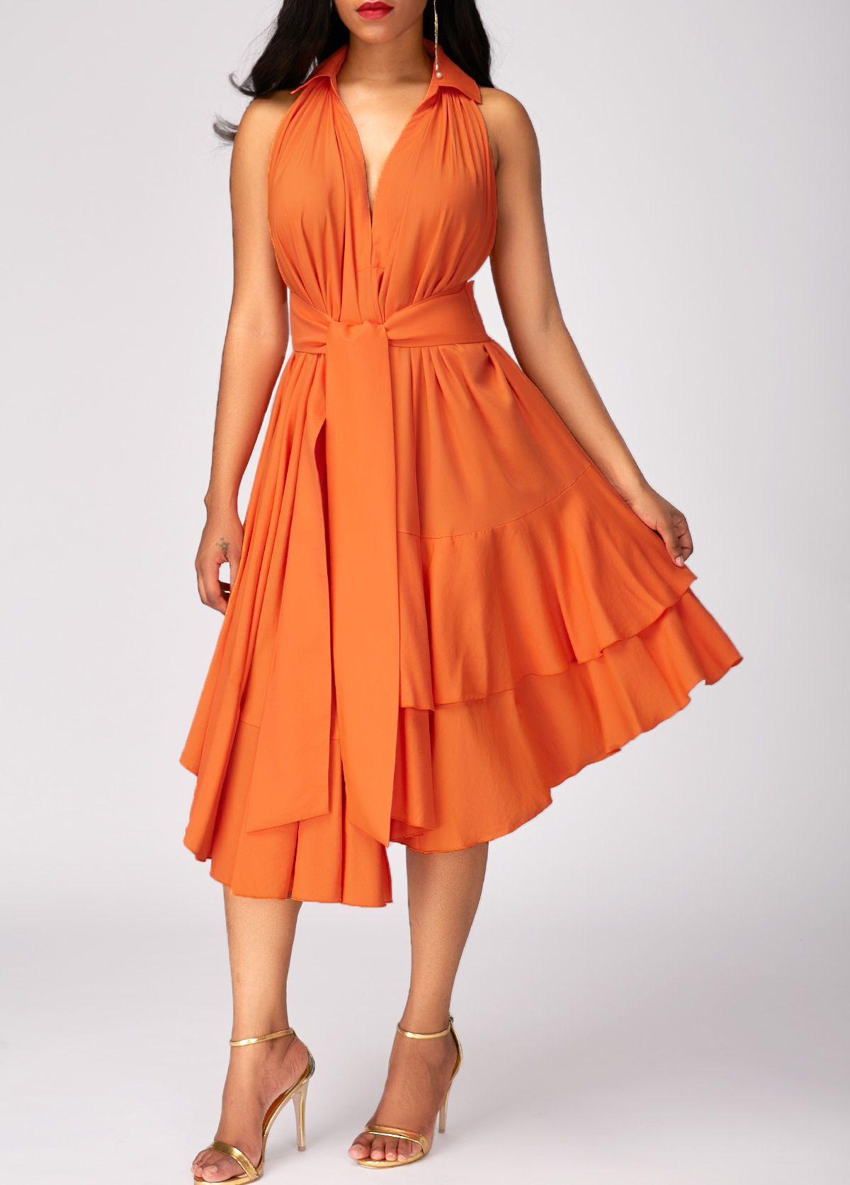 Asymmetric Hem High Waist Layered Orange Dress Rotita Com Usd 30 58 Orange Dress Dresses Party Dress Long [ 1674 x 1200 Pixel ]