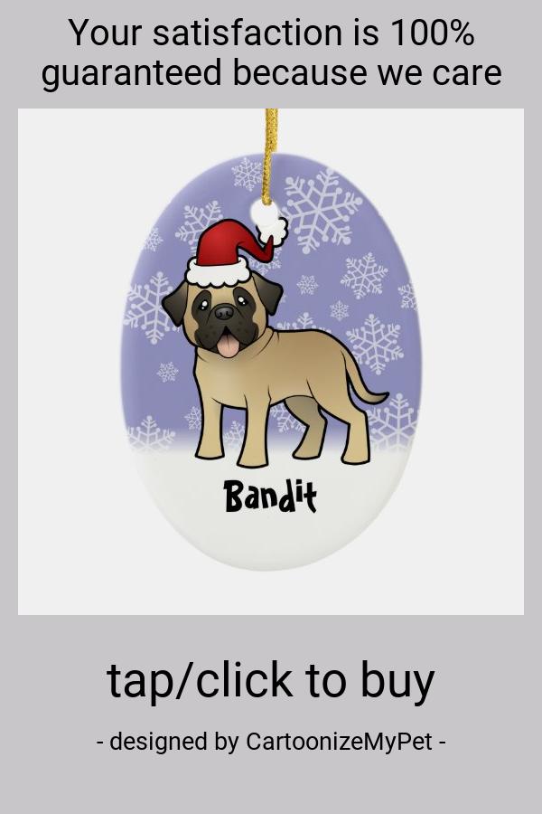 Christmas Mastiff / Bullmastiff Ceramic Ornament - tap/click to personalize and buy #CeramicOrnament #dog #pet #animal #cute #kawaii