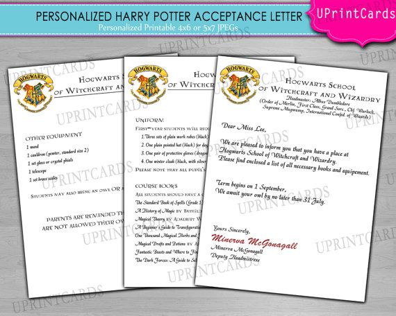 DIY Printable Harry Potter Acceptance Letter Personalized Birthday - acceptance letters pdf