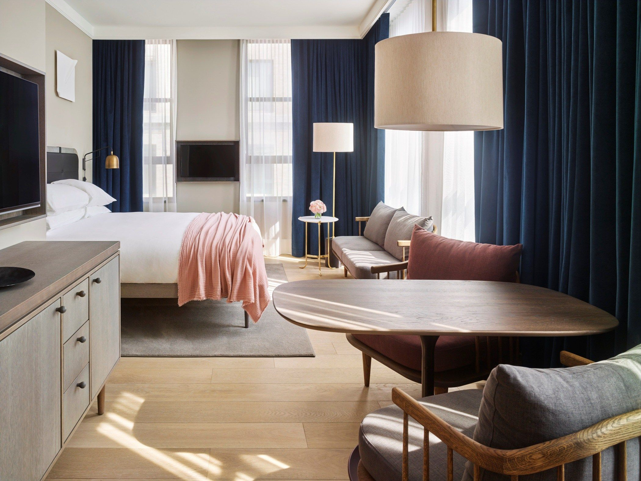 11 Howard NYC bedroom interior design navy blue and blush pink