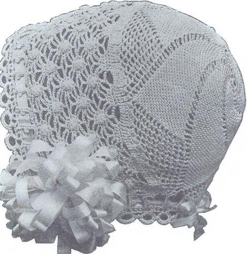 1915 Vintage Antique Crochet PATTERN Baby Cap Hat Bonnet TrumpetCap ...