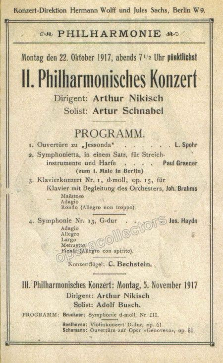 Schnabel Arthur  Concert Program   Products