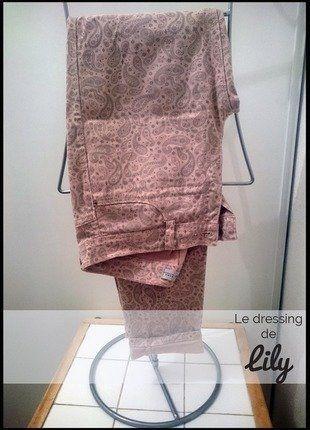 À vendre sur #vintedfrance ! http://www.vinted.fr/mode-femmes/pantalons-skinny/27059649-pantalon-rose-motifs-zara-t36