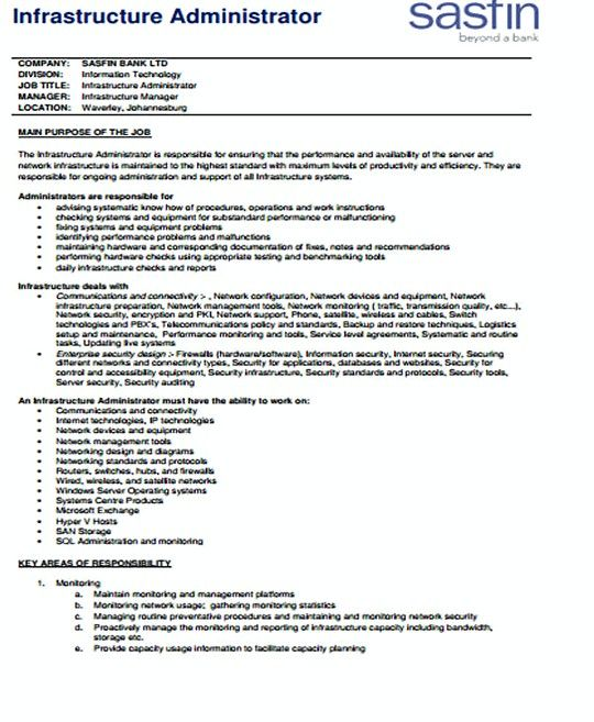 IT Infrastructure Administrator resume template , IT - San Administration Sample Resume