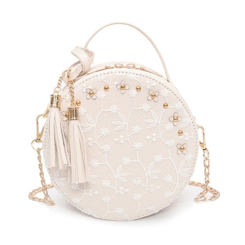 Women Girl Tassel Round Handbag Purse Crossbody Bags For Women Luxury Design Tote Shoulder Bags Gift