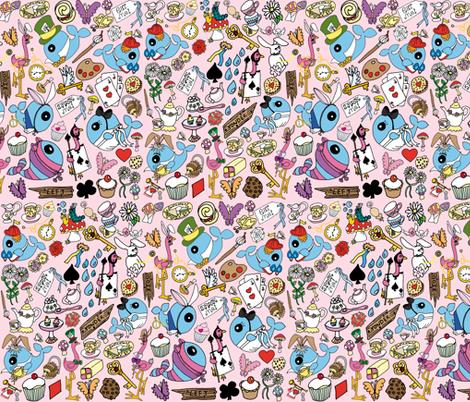 Wonderland in pink fabric by gazeofdolls on Spoonflower - custom fabric