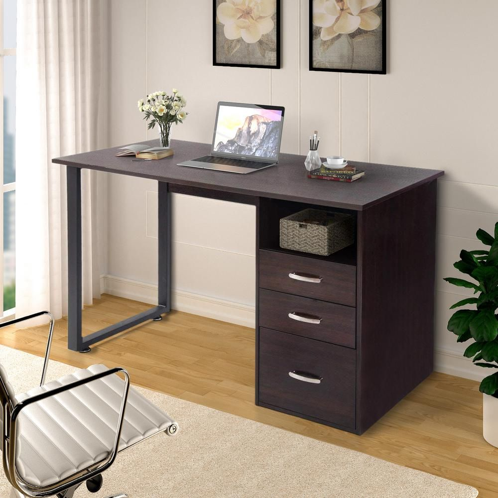 Merax Simple Design Espresso Computer Desk With Cabinet And Drawers Brown Simple Computer Desk Desks For Small Spaces Simple Desk