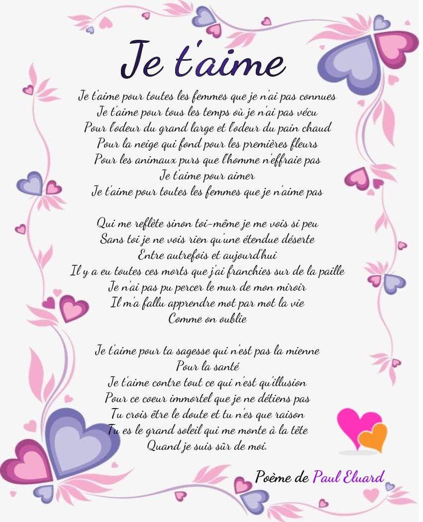Les Plus Beaux Je Taime En Poèmes Poesie D Amour Beau
