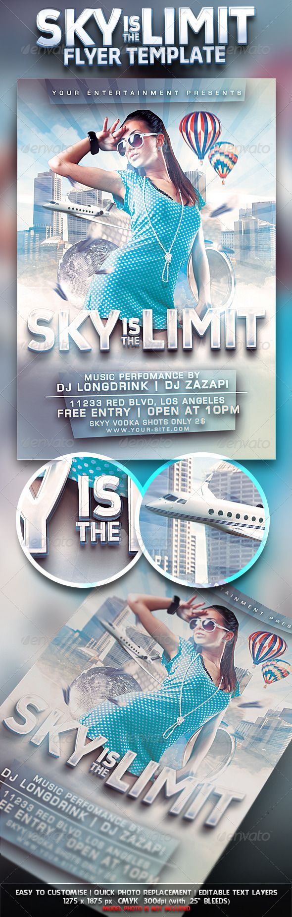 Sky Is The Limit Club Flyer  Flyer Template Template And Party Flyer