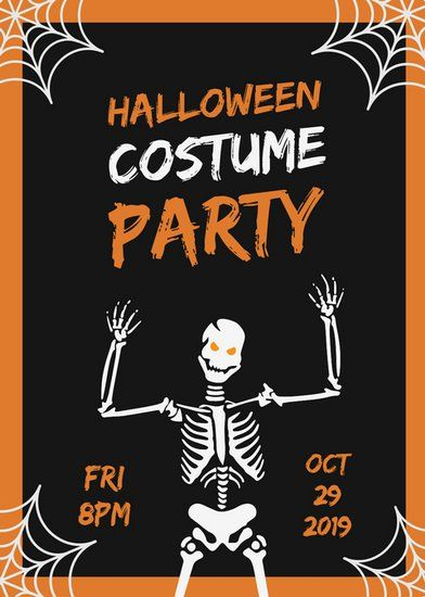 Black and Orange Skeleton Spiderwebs Halloween Party Flyer - halloween party flyer
