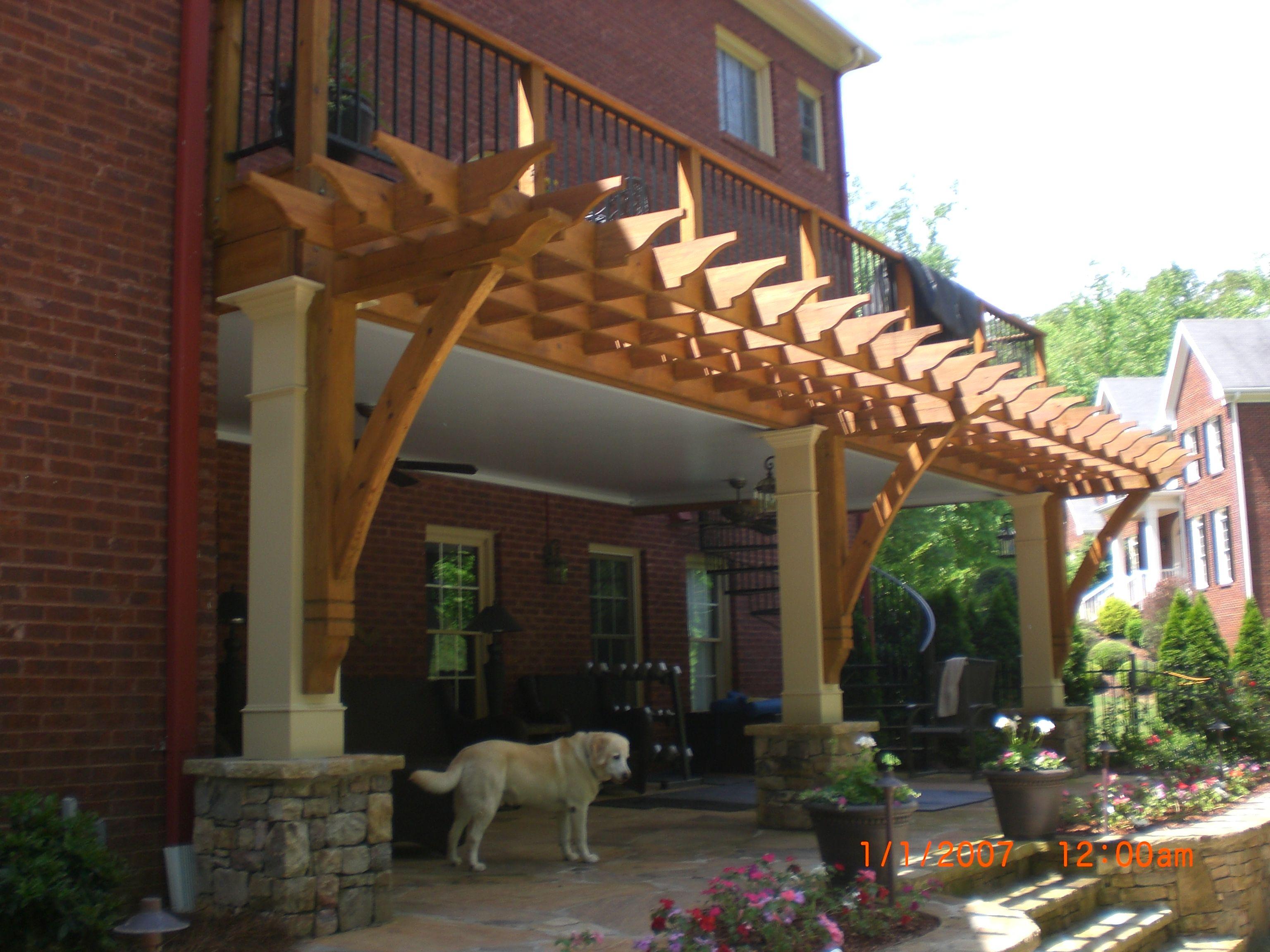 Pergola Near Pool Attached To Wood Deck Designed And Built By Atlanta Decking Fence Pergola Pergola Patio Deck With Pergola