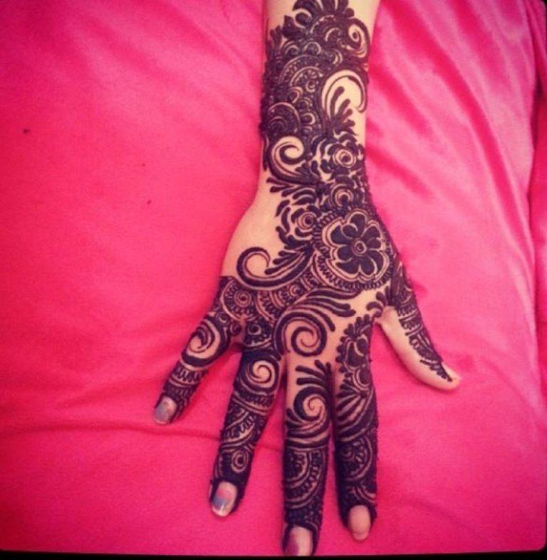 Full Hand Rose Flower Eid Henna Designs | Henna Mehndi Designs ...
