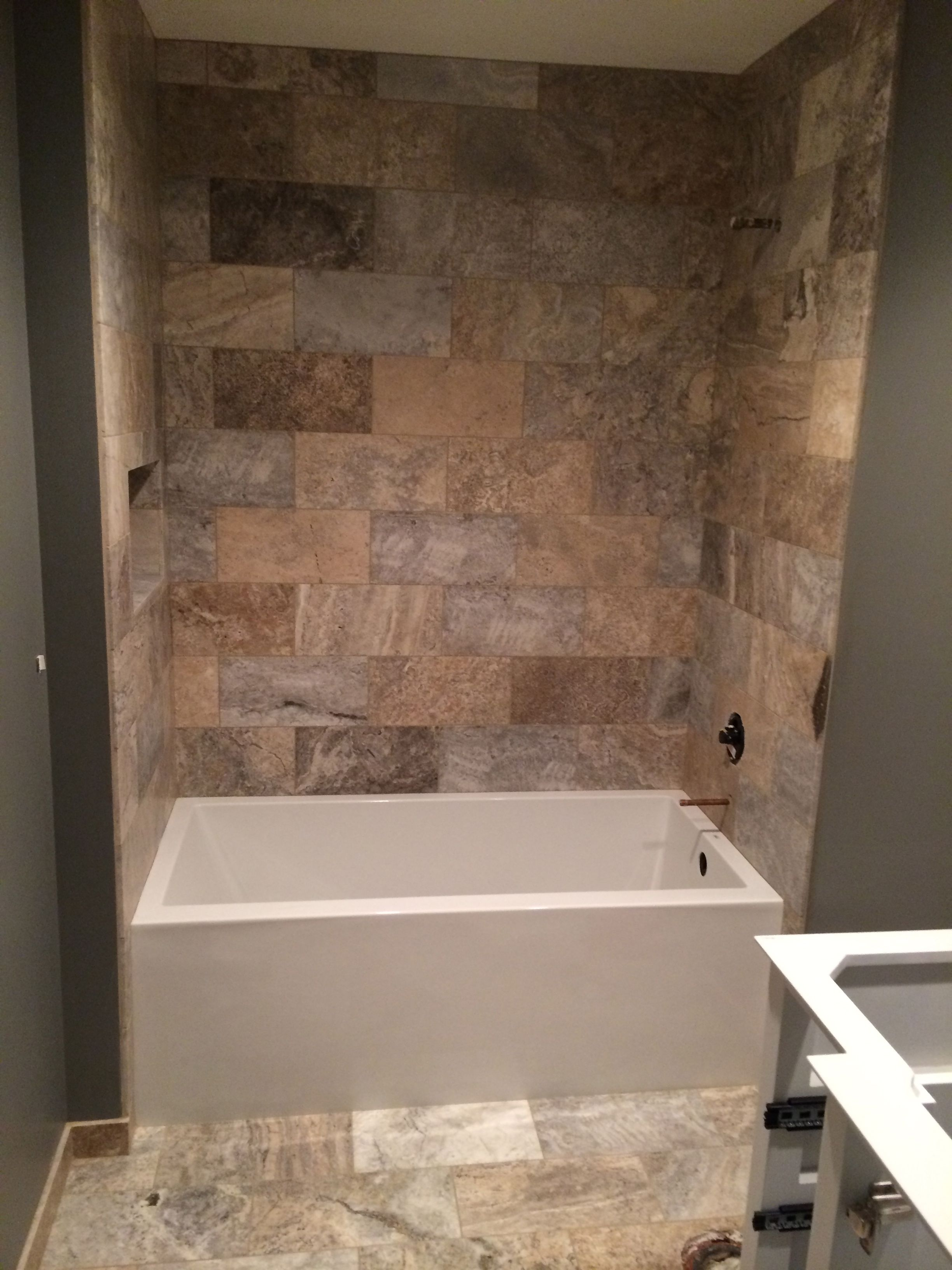 Silver mist travertine tile Bathrooms
