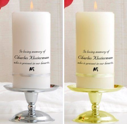 Even when they're gone our loved ones never truly leave us, and this Personalized Memorial Candle is a perfect way to make their memory a part of your wedding or any special occasion. Each of these beautiful personalized memorial candles are available in your choice of White or Ivory wax wrapped with either a Gold or Silver accent band. An optional Gold or Silver display stand is also available for an additional $10.Each personalized memory candle is also imprinted, at no charge, with up to…