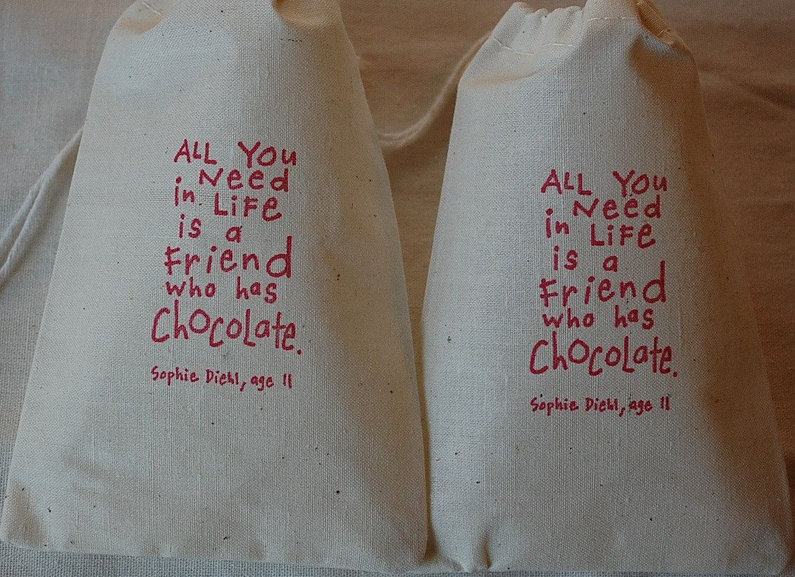 10 Chocolate Lover Organic Muslin Cotton Favor Gift Bags with drawstrings 4x6 - Choose your own ink color