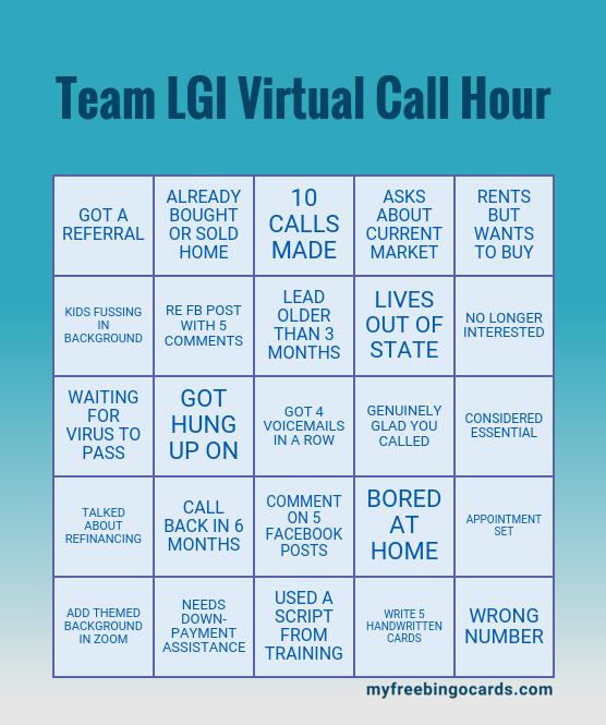 Team LGI Virtual Call Hour Bingo