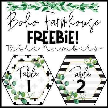 FREE Boho Farmhouse Table Numbers 1-10 #classroomdecor