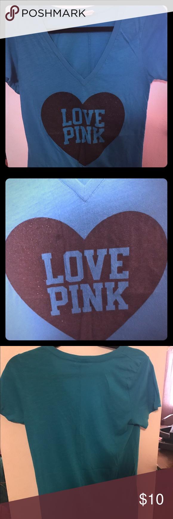 Blue shirt and black Love Pink Victoria Secret Pink short sleeve shirt PINK Victoria's Secret Tops Tees - Short Sleeve