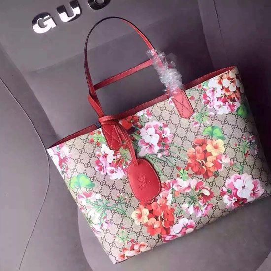 95318d379 Reversible GG Blooms Leather Tote Bag 368568 Red | Gucci Tote Bags ...